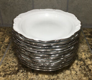 Royal Heidleberg Winterling Bavaria Regency Platinum Soup Pasta Bowls 12 Total