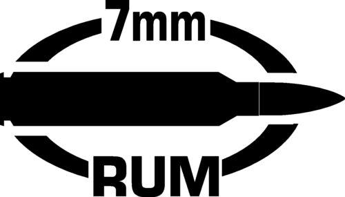 7mm RUM gun Rifle Ammunition Bullet exterior oval decal sticker car or wall