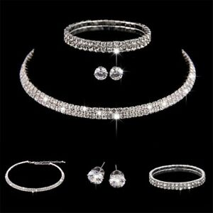 Rhinestone-Crystal-Choker-Necklace-Earrings-And-Bracelet-Wedding-Jewelry-Set