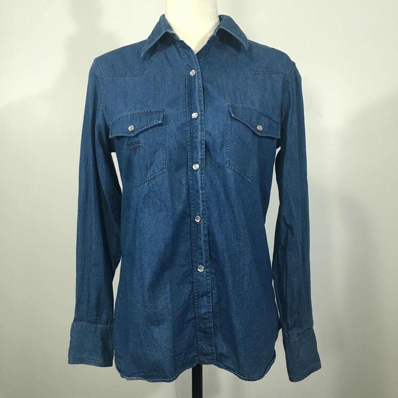 Lucchese Vintage damen's Größe 6 Denim Snap Western Blau Made in USA