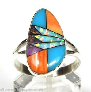 925 Fine Sterling Silver Polished Inlay Opal Ring Size 9 USA