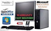 """Fast Dell Desktop Tower Intel Core 2 Quad 250Gb 4 GB Ram Windows 7 19"""" TFT"""
