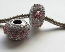 I LOVE YOUI PINK & CLEAR CRYSTAL STONES STERLING SILVER CHARM BRACELET BEAD