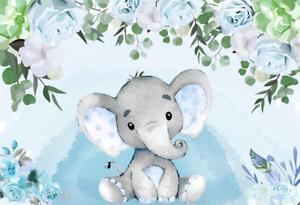 Baby Shower Background 6 5 X5 Baby Boy Shower Party Gift Baby Elephant Dessert Ebay