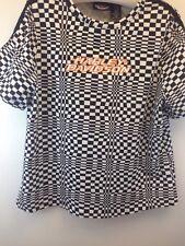HARLEY DAVIDSON women's short sleeve black/white checker t shirt size  1W