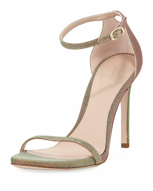 Stuart Weitzman Square Nudist High Heel Sandal Pump gold Nighttime  425 Nib 7.5M