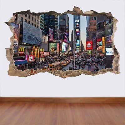 Times Square New York Trou dans le mur vue Art Autocollant Décalque Murale Mur Caractéristique