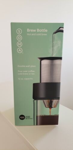 SOMA Brew Bottle Coffee/&Tea 12oz Double-Wall Glass BPA-Free//Free Shipping