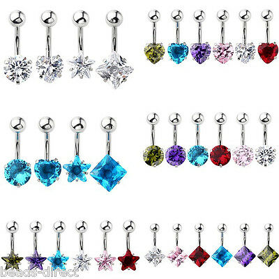 Stainless Steel Cubic Zirconia Navel Bars Studs Belly Button Rings Body Piercing