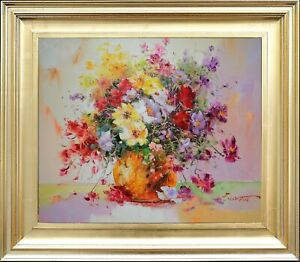 Original-Framed-Oil-Painting-Signed-Impressionism-Still-Life-Bouquet-Flowers