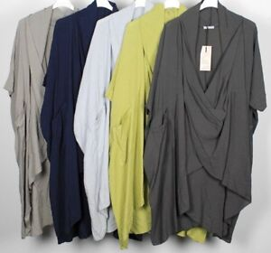 New-Ladies-Lagenlook-Quirky-Raw-Edge-Cowl-Neck-Cotton-Wrap-Crossover-Tunic-Top