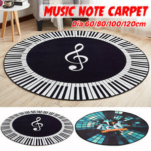 Round-Carpet-Music-Symbol-Piano-Key-Black-White-Non-Slip-Home-Bedroom-Mat-Floo