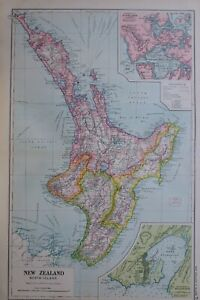 1919-MAP-NEW-ZEALAND-NORTH-ISLAND-PORT-NICHOLSON-WELLINGTON-NEW-PLYMOUTH