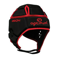 Optimum Origin Rugby Headguard Scrum Cap Protection Black Red