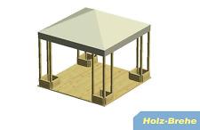 4-Eck Holz Pavillon 1606 terracotta 291x291 cm Lindgren Sommerdach Ersatzdach f