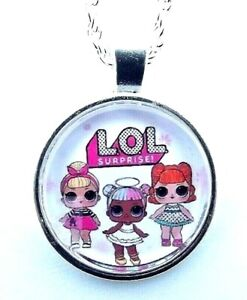 LOL SURPRISE PHOTO CHAIN 18 INCH  NECKLACE SILVER PLATED GIFT BOX,BIRTHDAY PARTY