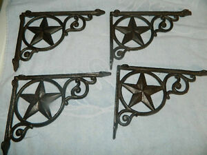 Set 4 cast iron western star shelf support bracket plante for Plante western