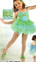 Dance Tap Pageant Costume Girls Lime Sky Blue Lace Ruffled Organdy Skirts