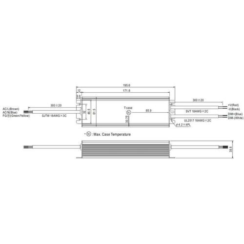 Alimentation LED 156w 12v 13a; MeanWell hlg-185h-12a; boutons bloc d/'alimentation