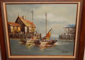 DILLON-FISHING-BOAT-AT-DOCK-ORIGINAL-OIL-ON-CANVAS-SEASCAPE-PAINTING