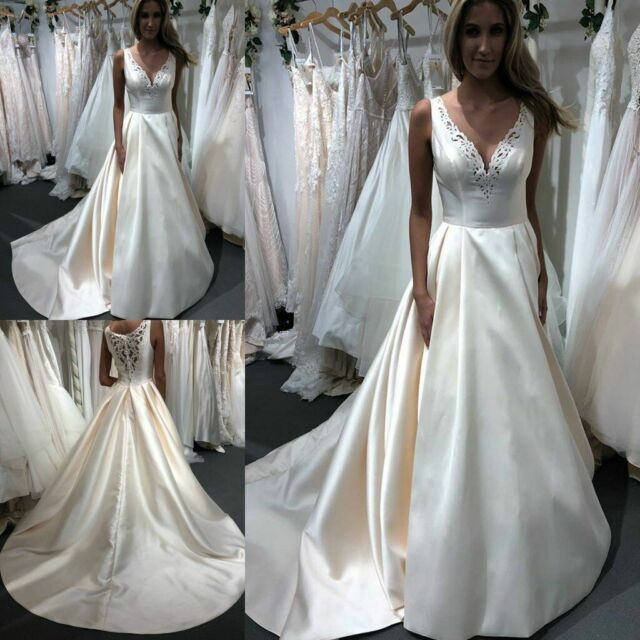 Simple A Line Off The Shoulder Floor Length Wedding Dresses Slit
