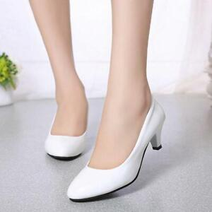4-Color-Womens-Pointed-Toe-Low-Mid-Kitten-Heel-Smart-Office-Work-Court-Shoes-H
