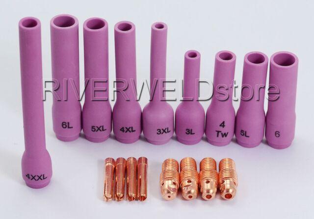 TIG Welding Torch Aluminia Ceramic Cup Extra Long Kits WP 9 20 25 Series 17Pcs