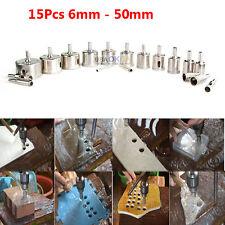 15Pcs 6mm-50mm Diamond Tool Drill Bit Hole Saw Set for Glass Ceramic Marble Tile
