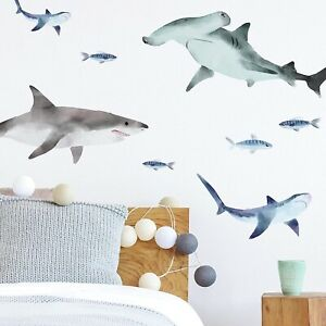 Sharks Peel And Stick Wall Decals RMK4311SCS Blue & Gray Bathroom Wall Stickers