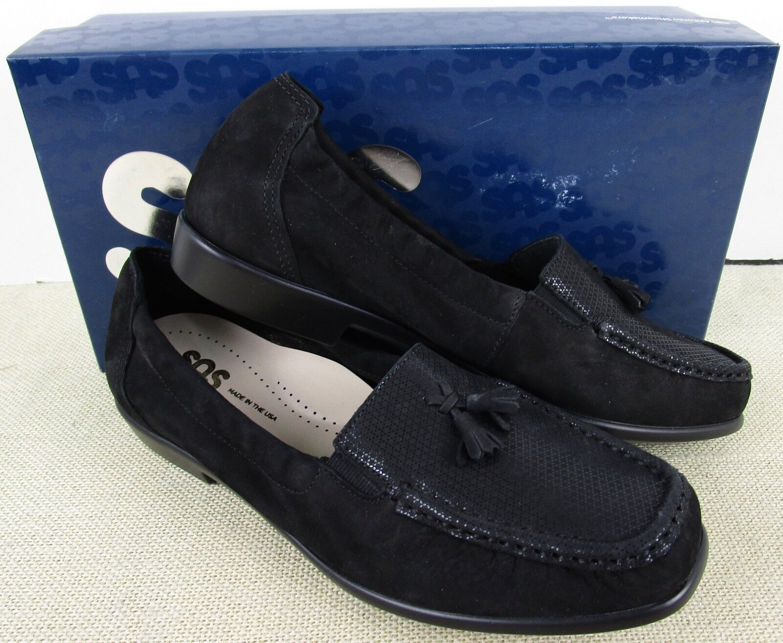 SAS HOPE ONYX WOMEN'S BLACK LEATHER SUED PENNY IN LOAFER SLIP ON Schuhe NEW IN PENNY BOX 40878b