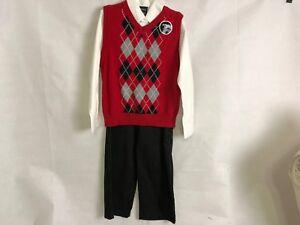 Boys Dockers $62 3pc Burgundy Sweater Vest Set Size 4-7