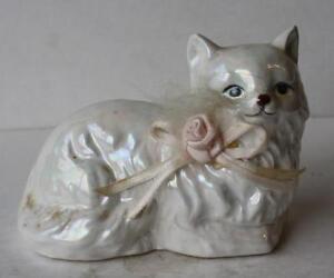 White Persian Ceramic Cat Figurine Laying Down Ceramic Persian Cat Collection