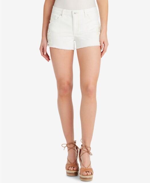 Jessica Simpson Juniors Size 27 Cherish White Crochet Trim Denim Shorts New