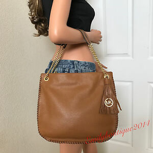 Image is loading MICHAEL-KORS-LEATHER-GOLD-CHAIN-LARGE-SATCHEL-HANDBAG- cfd827e2b4daf