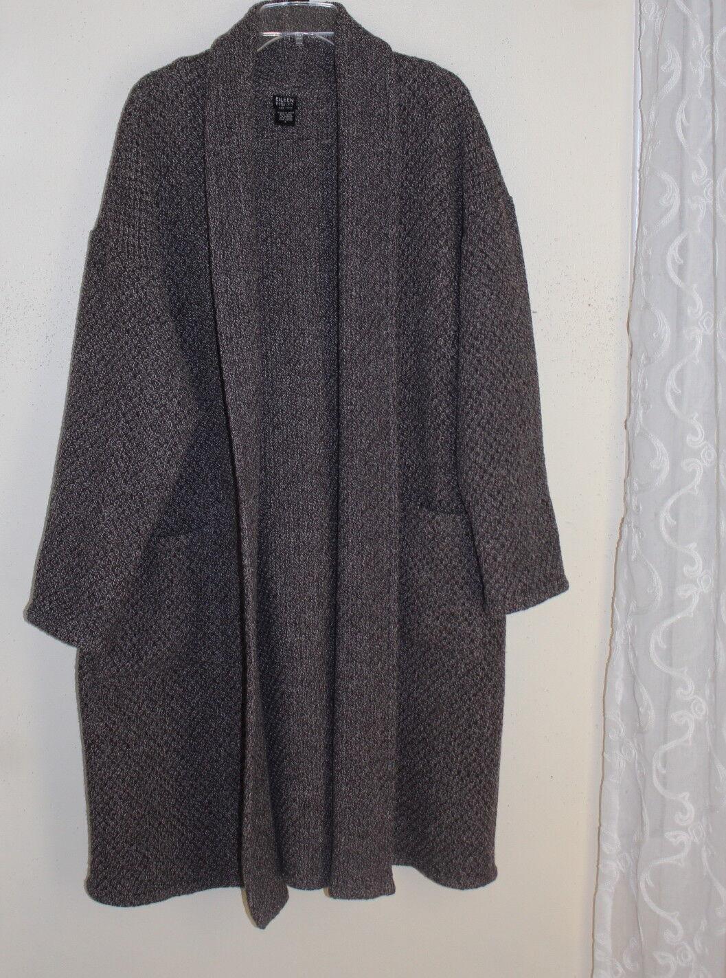 Elieen Fisher Talla  L LUXURY Rica Lana De Alpaca Tejido Largo Suéter Capa de la textura abierta  moda