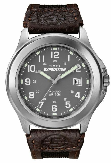 """Timex T40091, Men's """"Expedition"""" Brown Leather/Nylon Watch, Indiglo,  T400919J"""