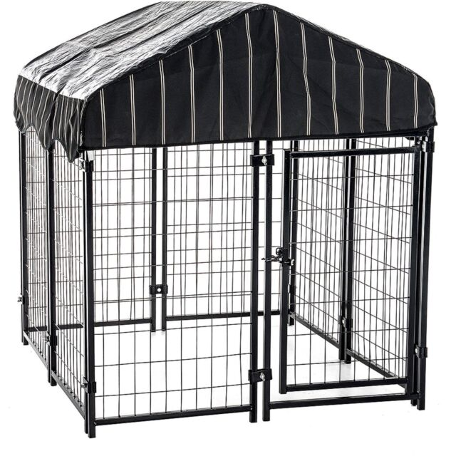 L Large Dog Chain Link Pet Resort Outdoor Dogs Cage With Cover Crates Kennels