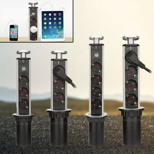 3/4 Fach Tischsteckdose Steckdosenleiste versenkbar mit USB ...
