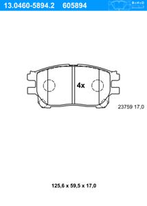 ATEBremsbeläge Vorne Toyota Scheibenbremsbelagsatz 13.0460-5894.2
