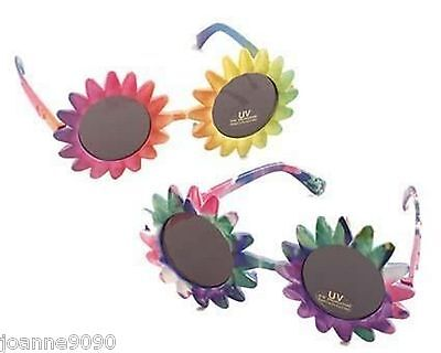 60s 70s Groovy Hippie Fancy Dress Hawaiian Rainbow Flower UV Sunglasses Glasses