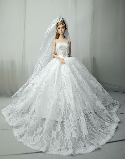 White Fashion Party Dress//Wedding Clothes//Gown+Veil For 11.5in.Doll S601