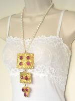Ottomam Gems Semi Precious Stone Gold Necklace Choker Pearl Ruby Handmade