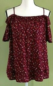 OLD-NAVY-Maroon-Floral-Off-The-Shoulder-Shirt-Blouse-Junior-Size-Small