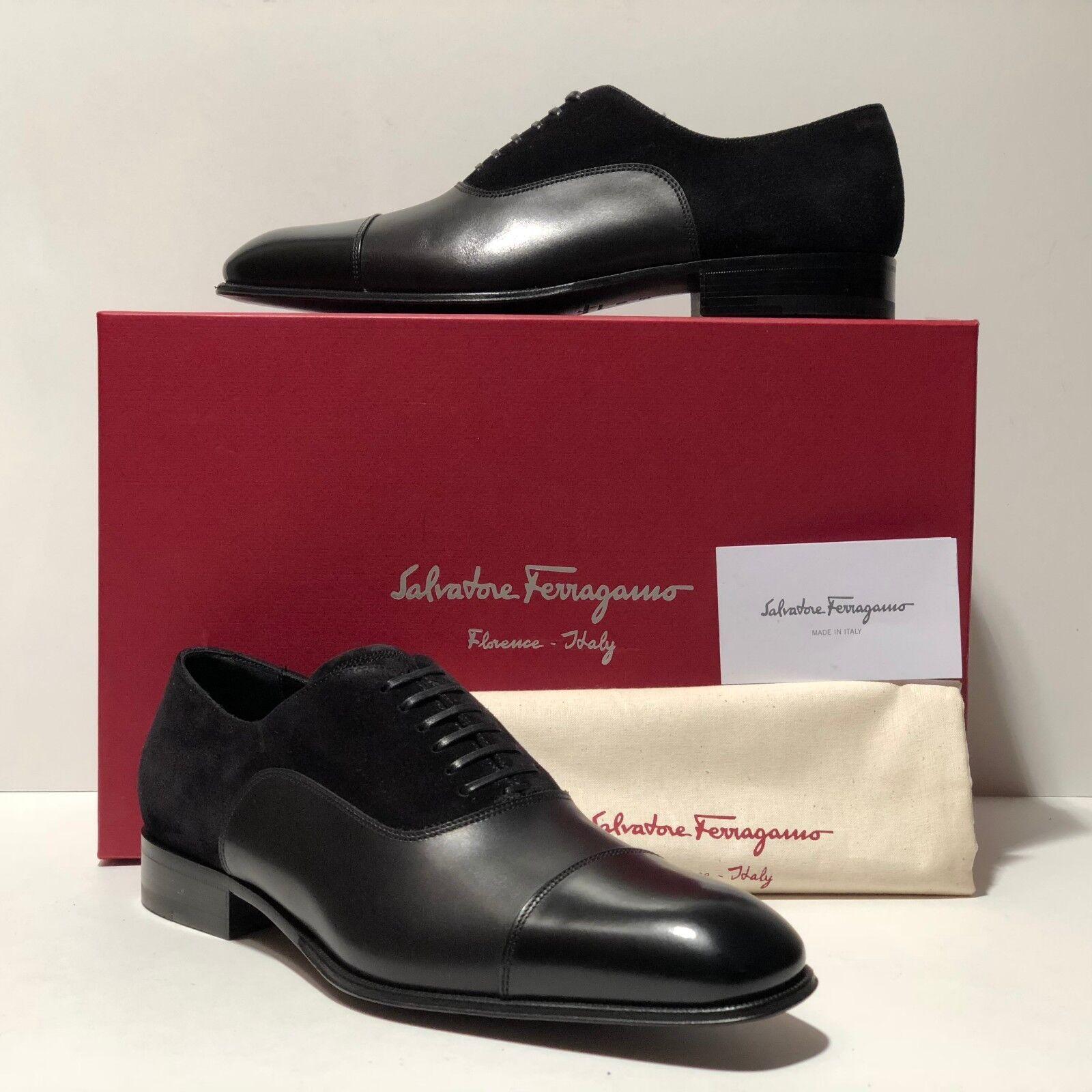 Ferragamo Captoe Cuoio Formale 7.5 Oxford Uomo Derby Scarpe Eleganti