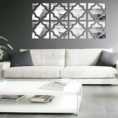 20pcs Acrylic Mirror Wall Sticker Removable DIY Decal Home Bedroom Mural Decor