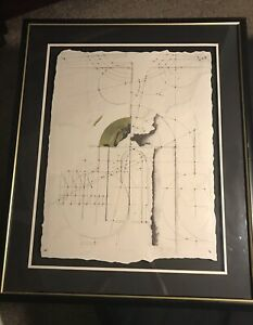 MYSTERY-SIGNED-ORIGINAL-MIXED-MEDIA-CUBISM-GEOMETRIC-LINEAR-ABSTRACT-PAINTING