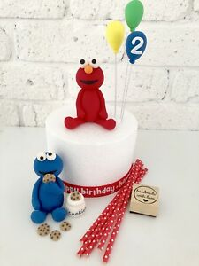 Image Is Loading Edible Elmo Cookie Monster Cake Toppers 3 Balloons