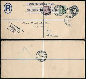 SOUTH AFRICA 1922 REGISTERED STATIONERY TARKASTAD to STAMP DEALER WINCH BROS GB