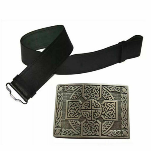 TC Leather Black Plain Kilt Belt Scottish Highland  /& Antique Celtic Knot Buckle
