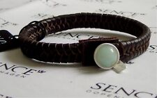 SENCE COPENHAGEN Leder Armband Summer Planet dark brown / silver / light green